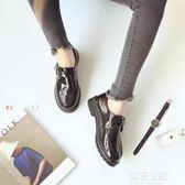 小皮鞋女新款韓版百搭學生原宿英倫女鞋平底中跟學院風『潮流世家』