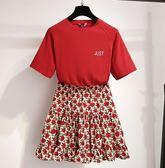 促銷價不退換網紅配套兩件式S-XL/32119/韓版小個子短裙t恤配半身裙時尚網紅兩件套裝胖胖唯依