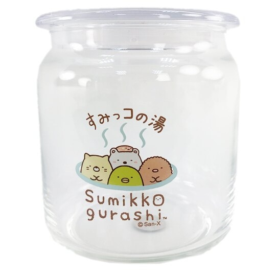 小禮堂 角落生物 透明密封玻璃罐 食物分裝罐 保鮮罐 餅乾罐 500ml (溫泉) 4718733-25456
