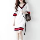 輕熟風洋裝 溫柔風白色連身裙女夏氣質中長款撞色V領輕熟風直筒裙子-Ballet朵朵