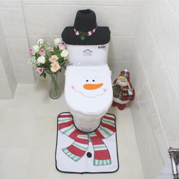 聖誕雪人馬桶套 聖誕馬桶套+地墊+水箱蓋+紙巾套 三件套─預購CH2442