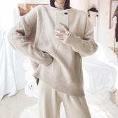 毛衣-兔毛圓領純色百搭寬鬆女針織衫3色73uc4【巴黎精品】