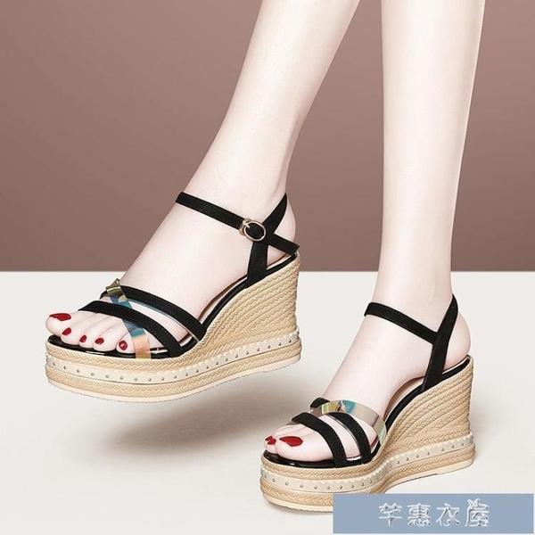 厚底涼鞋夏季新款鞋子女士坡跟涼鞋仙女風外穿網紅夏天性感媽媽高跟鞋 快速出貨