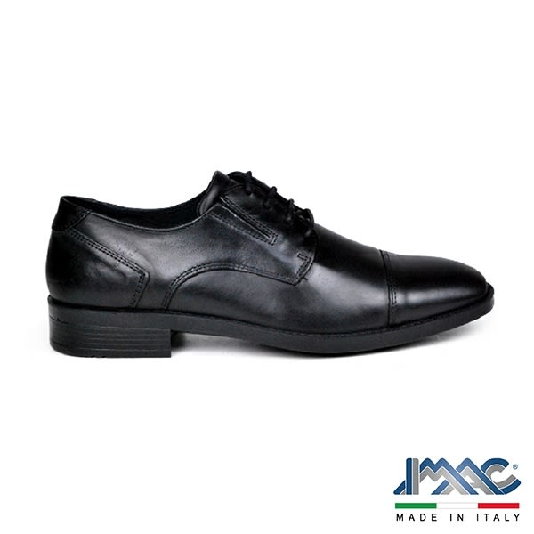 【IMAC】義大利牛皮輕量抗震氣墊橫飾德比紳士鞋  黑色(100060-BL)