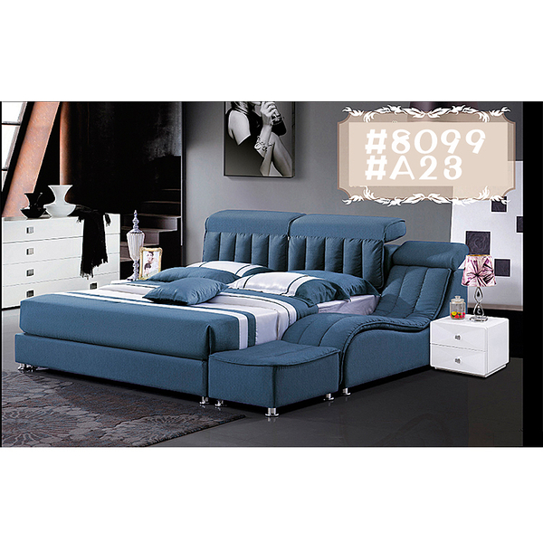[紅蘋果傢俱] LW 8099 6尺真皮軟床 頭層皮床 皮藝床 皮床 雙人床 歐式床台 實木床