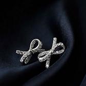 925純銀耳環 鑲鑽(耳針式)-甜美蝴蝶結生日情人節禮物女飾品73ag285【巴黎精品】