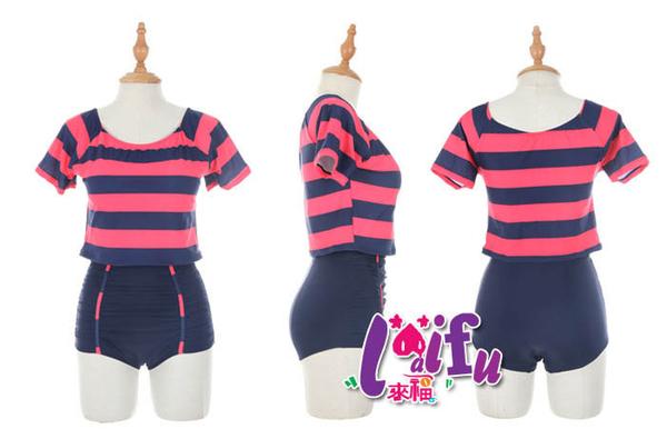 來福,C314泳衣最潮條紋高腰二件式泳衣游泳衣泳裝比基尼,售價880元