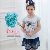 PINKNANA童裝 女童典雅娜娜棉質上衣 短袖T恤33109