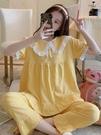 日系甜美公主風睡衣女夏季秋薄款透氣純棉紗布短袖長褲家居服套裝「時尚彩紅屋」