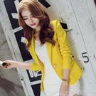 春秋新款韓版修身長袖純色短款小西裝外套女OL時尚女士小西服 一米陽光