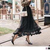 《CA1448-》優雅層次感裙襬蕾絲拼接網紗長裙 OB嚴選