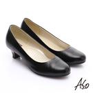 A.S.O 舒適通勤 全真皮通勤簡約素面中跟鞋 黑