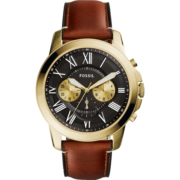 FOSSIL Grant 雅爵三眼計時手錶-黑x咖啡/44mm FS5297