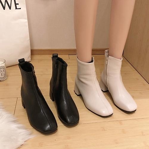 靴子.街頭時尚側拉鍊拼接粗跟短靴.白鳥麗子