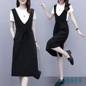 連身裙洋裝 大碼赫本輕熟風套裝女2020年新款夏季洋氣減齡背帶氣質兩件套潮 DD30【pink領袖衣社】