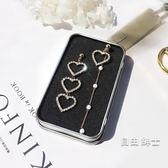 (低價促銷)s925銀針長款愛心耳環女氣質不對稱珍珠耳墜個性百搭網紅耳釘