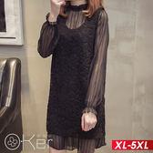 魅力條紋透膚網紗洋裝+蕾絲背心裙洋裝 XL-5XL O-ker歐珂兒 158015-1