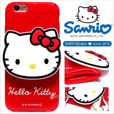 官方授權 三麗鷗 Sanrio Hello Kitty 立體 公仔 集線器 iPhone 6 6S Plus HTC 10 X9 手機殼 軟殼【大頭紅】