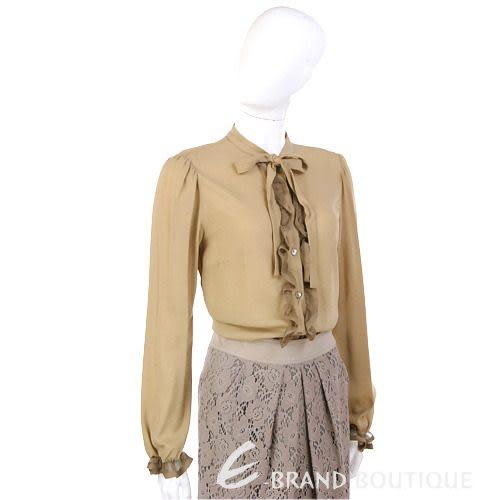VALENTINO 駝色荷葉滾邊長袖襯衫 1230431-28