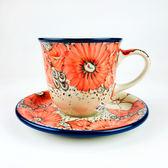 【手工波蘭陶】0.2L杯盤組 茶杯 咖啡杯 #B66U44666 U5 (陶瓷 餐具)