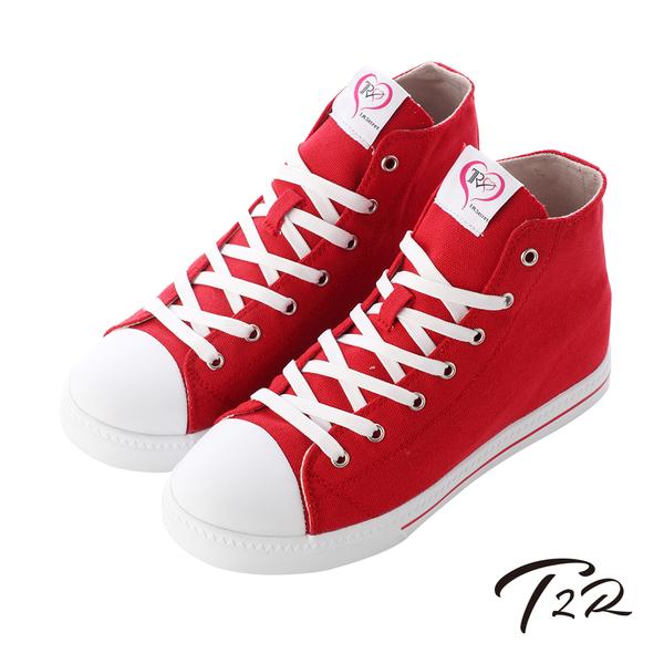 【T2R】增高7cm經典款休閒氣墊高筒帆布鞋 紅(7100-0015)