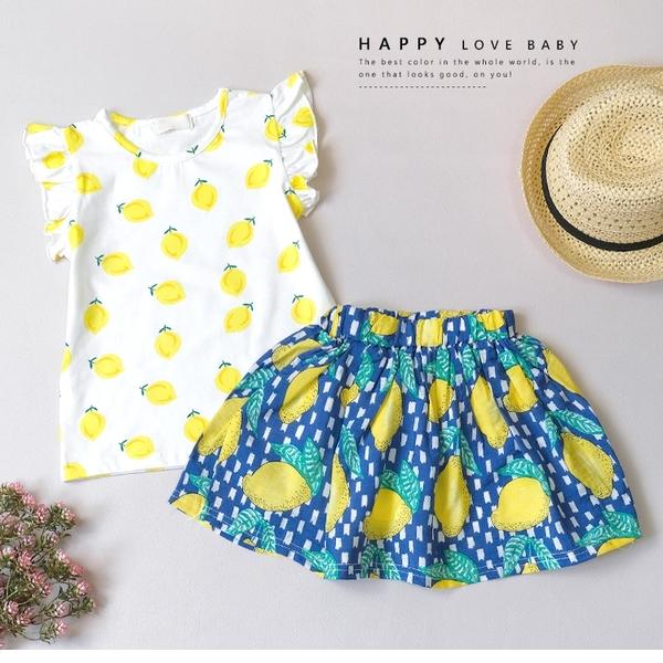 夏季沁涼檸檬套裝 春夏童裝 女童棉T 女童上衣 女童短裙 女童褲裙 女童套裝