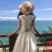 露背洋裝 韓版裙子氣質性感露背后交叉連衣裙女背心裙過膝長裙