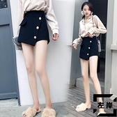 毛呢短褲女秋冬顯瘦時尚高腰a字褲裙闊腿褲【左岸男裝】