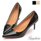尖頭鞋 性感尤物漆皮紅底細高跟鞋-黑