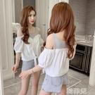 短袖襯衫 假兩件襯衫夏裝新款泡泡袖上衣女設計感小眾心機露肩襯衣潮 韓菲兒