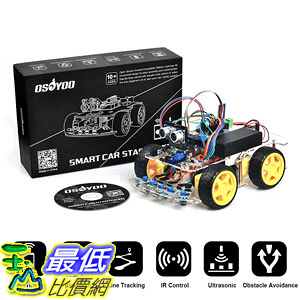 [107美國直購] US Robot Car Kit for Arduino Starter 4WD Bluetooth Tracking Gift Open Source