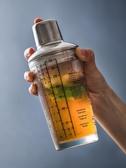 玻璃調酒器帶刻度 透明奶茶手搖杯酒吧雞尾酒搖酒壺酒具『洛小仙女鞋』