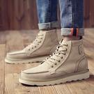靴子 秋季男鞋高幫馬丁靴男英倫男靴沙漠工裝靴男中幫增高軍靴潮男短靴