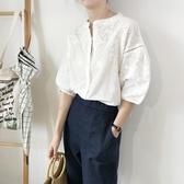 刺繡T恤 蕾絲刺繡襯衫女繡花洋氣女裝設計感 上衣短袖鏤空白色襯衣-Ballet朵朵