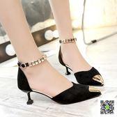 高跟鞋 韓版新款貓跟中空單鞋尖頭鞋一字搭扣高跟鞋細跟5cm女涼鞋 玫瑰女孩