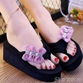 涼鞋 夏季厚底蝴蝶結人字拖鞋2021新款韓版度假厚底坡跟女士夾腳拖鞋 俏俏