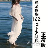 奈良白色海南三亞沙灘裙女雪紡海邊度假佯裝超仙長裙【果果新品】
