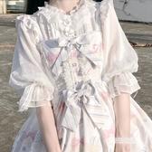 內搭lolita日常洋裝洛麗塔小奶油泡泡袖半透明雪紡內襯荷葉邊襯衫