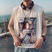 夏季Ins潮牌坎肩背心男士港風寬鬆無袖T恤男運動街頭嘻哈外穿 滿天星