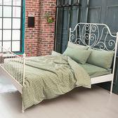 雙人床包兩用被五件組 水洗棉-細格綠  簡約無印風格