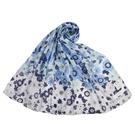 NINA RICCI滿版花卉抗UV純綿薄圍巾(藍色)989403-C
