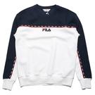 FILA 大學T 深藍 白 拼接 紅線串標 長袖 上衣 (布魯克林) 1TEV1401WT