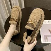 厚底毛毛鞋女2019冬季新款外穿加絨瓢網紅懶人一腳蹬羊羔毛豆豆鞋YJ2268【雅居屋】
