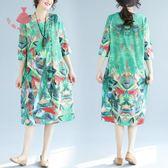 夏季大碼女裝藝術風風寬鬆顯瘦圓領短袖印花洋裝連身裙 巴黎時尚生活
