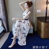 一字肩雪紡吊帶洋裝2021年新款女夏天性感長款顯瘦顯高氣質長裙 蘿莉新品