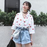 春夏女裝韓版復古珍珠扣V領氣質寬鬆短袖襯衫休閒襯衣打底衫上衣   麥琪精品屋