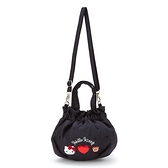 小禮堂 Hello Kitty 尼龍水桶包 (黑亮片款) 4550337-15957