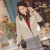 東京著衣【YOCO】韓國女孩時髦翻領毛呢口袋短大衣-S.M.L(172577)