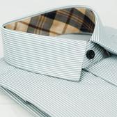 【金‧安德森】經典格紋繞領灰白條紋窄版長袖襯衫
