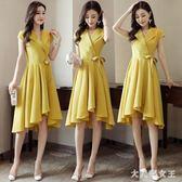 OL洋裝夏季新款流行裙子不規則法式復古裙短袖中長款 JY1263【大尺碼女王】